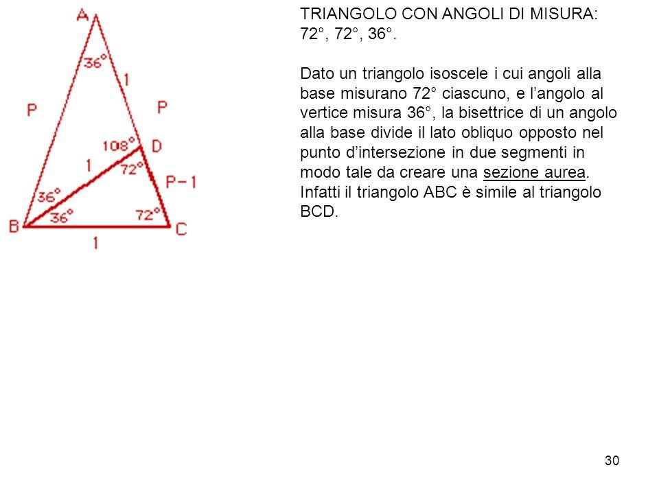 30 TRIANGOLO CON ANGOLI DI MISURA: 72°, 72°, 36°.