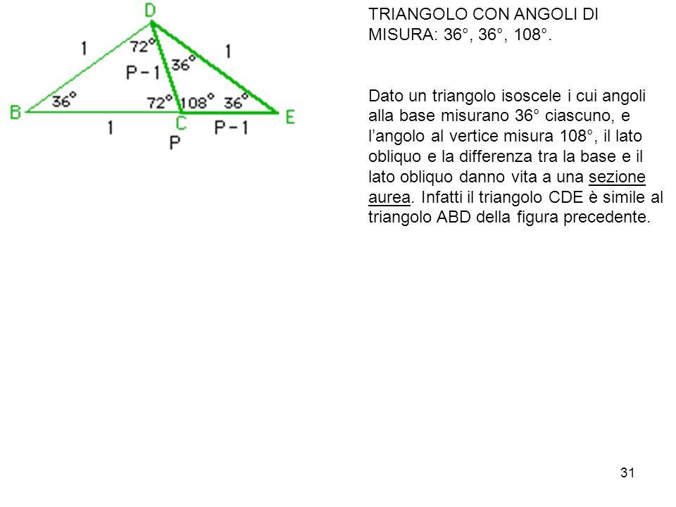 31 TRIANGOLO CON ANGOLI DI MISURA: 36°, 36°, 108°.
