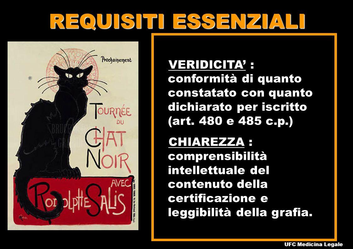 REQUISITI ESSENZIALI VERIDICITA : conformità di quanto constatato con quanto dichiarato per iscritto (art.