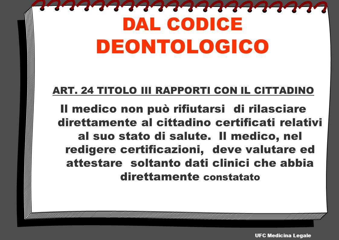 ART. 24 TITOLO III RAPPORTI CON IL CITTADINO Il medico non può rifiutarsi di rilasciare direttamente al cittadino certificati relativi al suo stato di