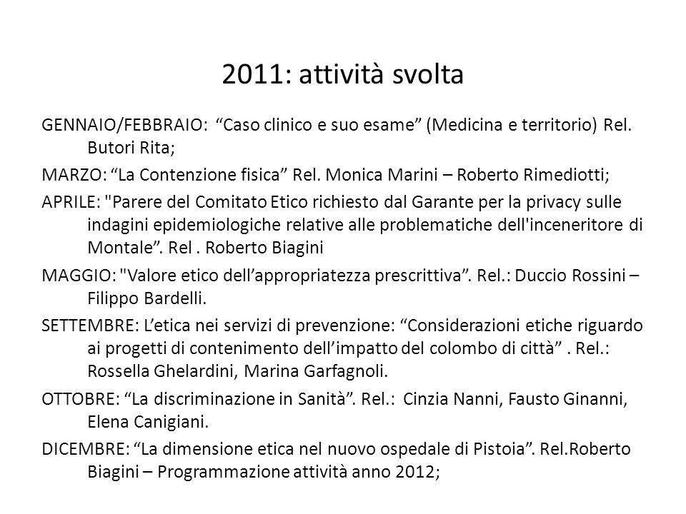 2011: attività svolta GENNAIO/FEBBRAIO: Caso clinico e suo esame (Medicina e territorio) Rel. Butori Rita; MARZO: La Contenzione fisica Rel. Monica Ma