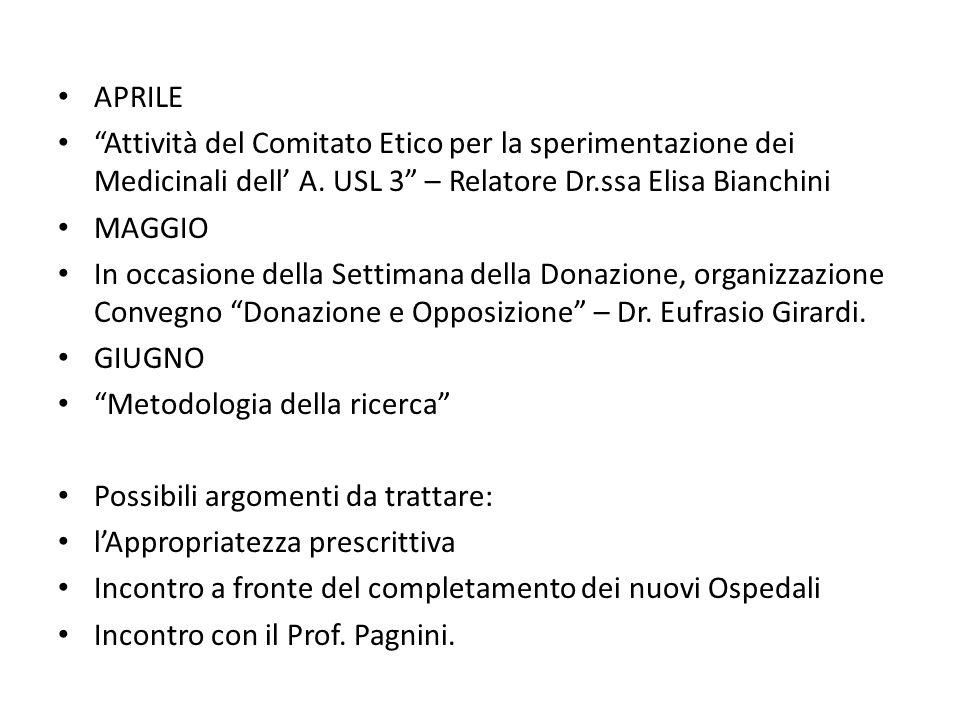 APRILE Attività del Comitato Etico per la sperimentazione dei Medicinali dell A. USL 3 – Relatore Dr.ssa Elisa Bianchini MAGGIO In occasione della Set