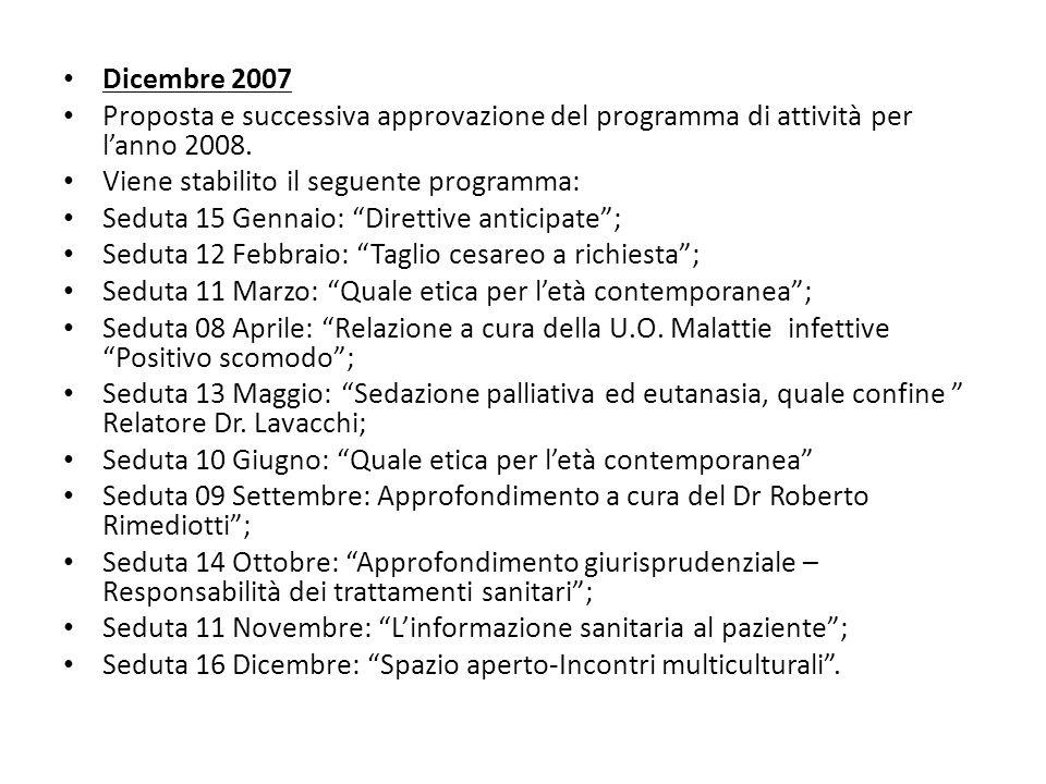 Dicembre 2007 Proposta e successiva approvazione del programma di attività per lanno 2008. Viene stabilito il seguente programma: Seduta 15 Gennaio: D