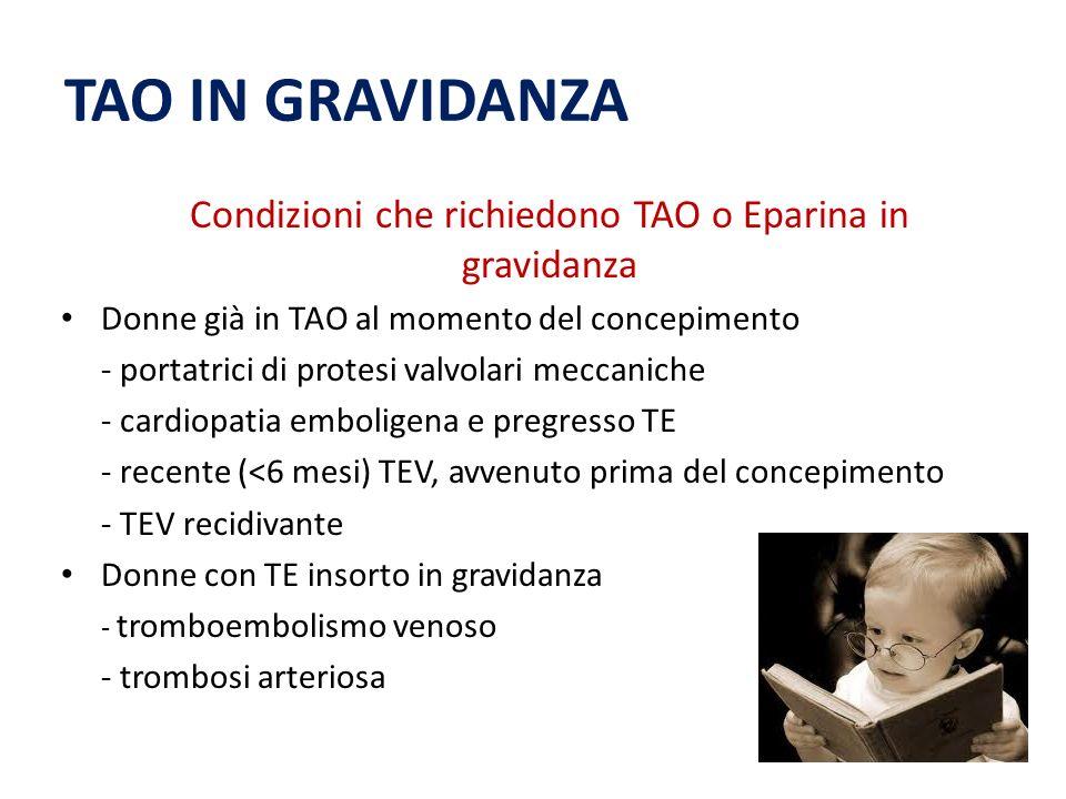 TAO IN GRAVIDANZA Condizioni che richiedono TAO o Eparina in gravidanza Donne già in TAO al momento del concepimento - portatrici di protesi valvolari meccaniche - cardiopatia emboligena e pregresso TE - recente (<6 mesi) TEV, avvenuto prima del concepimento - TEV recidivante Donne con TE insorto in gravidanza - tromboembolismo venoso - trombosi arteriosa