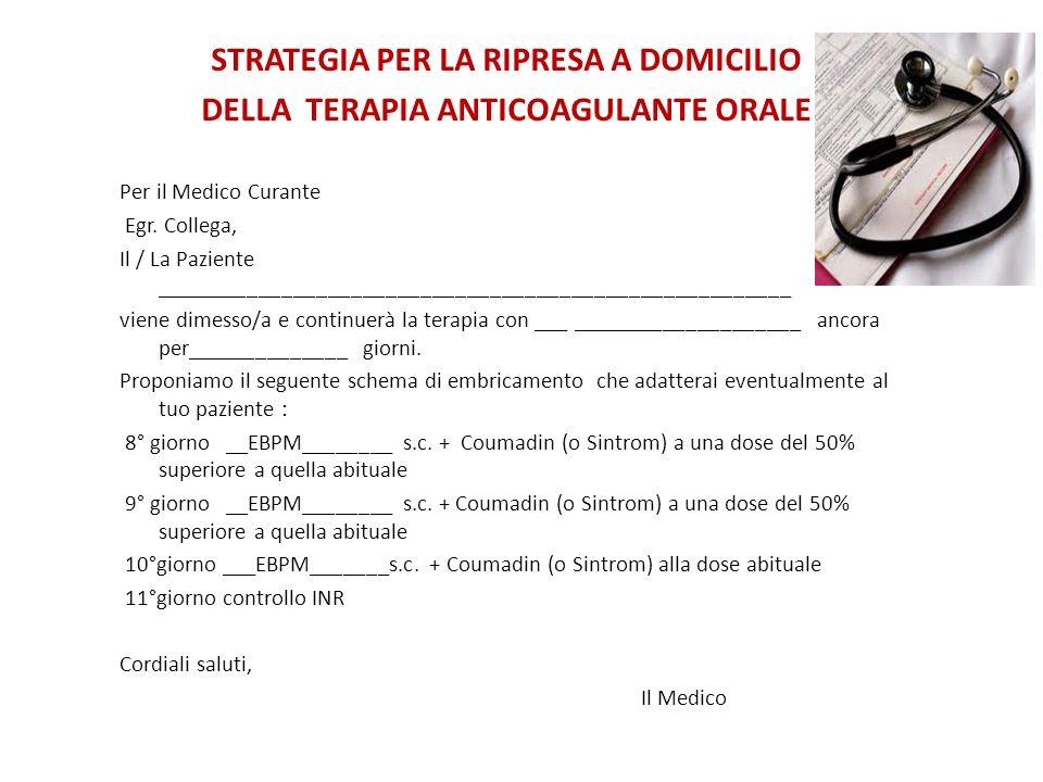 STRATEGIA PER LA RIPRESA A DOMICILIO DELLA TERAPIA ANTICOAGULANTE ORALE Per il Medico Curante Egr.