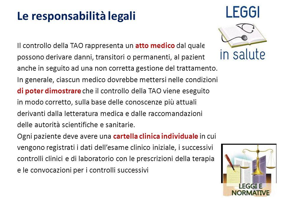 Le responsabilità legali Il controllo della TAO rappresenta un atto medico dal quale possono derivare danni, transitori o permanenti, al paziente anche in seguito ad una non corretta gestione del trattamento.