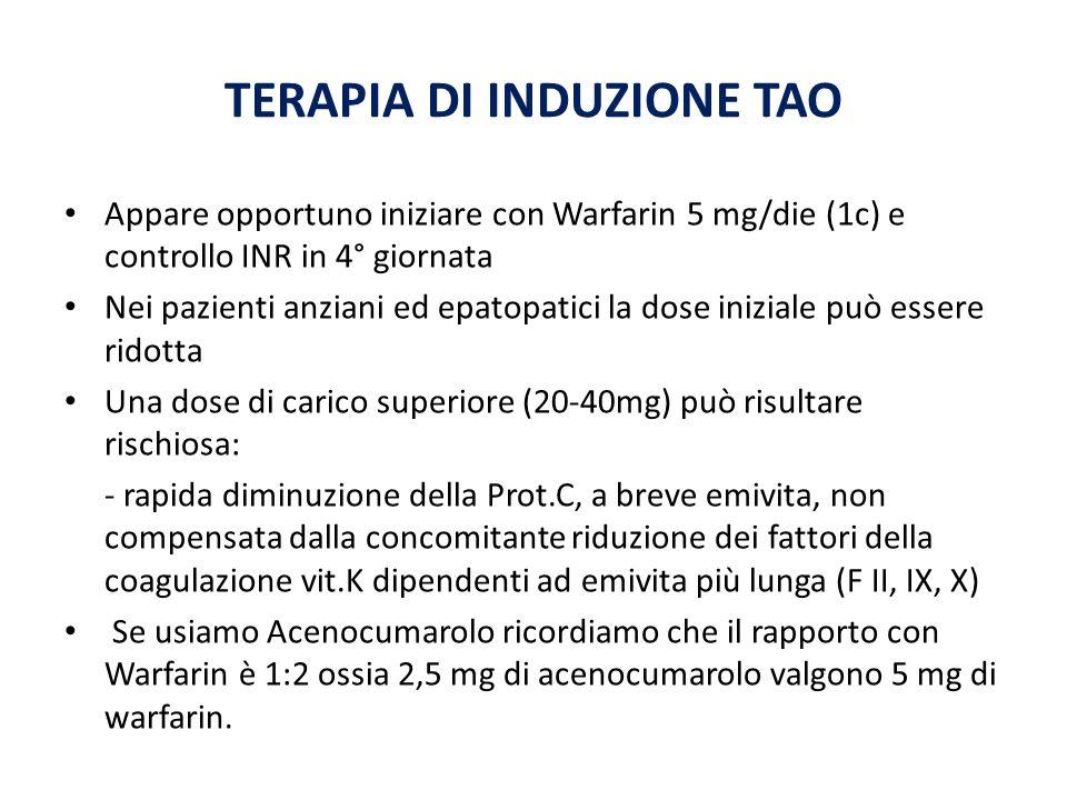 TERAPIA DI INDUZIONE TAO Appare opportuno iniziare con Warfarin 5 mg/die (1c) e controllo INR in 4° giornata Nei pazienti anziani ed epatopatici la do