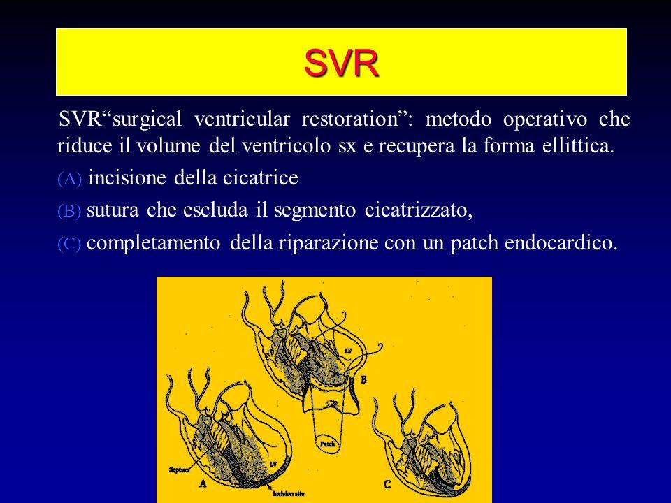 SVR SVRsurgical ventricular restoration: metodo operativo che riduce il volume del ventricolo sx e recupera la forma ellittica. (A) incisione della ci