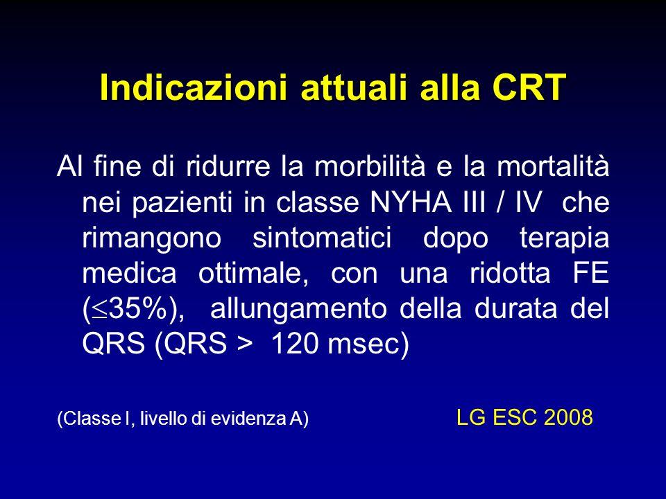 Indicazioni attuali alla CRT Al fine di ridurre la morbilità e la mortalità nei pazienti in classe NYHA III / IV che rimangono sintomatici dopo terapi