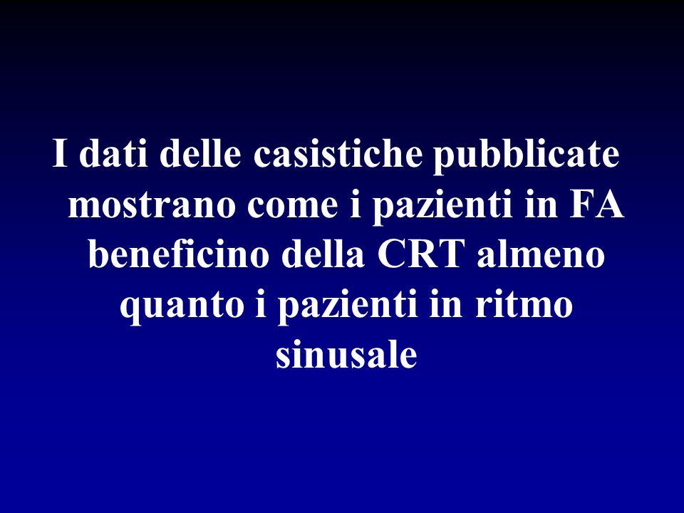 I dati delle casistiche pubblicate mostrano come i pazienti in FA beneficino della CRT almeno quanto i pazienti in ritmo sinusale