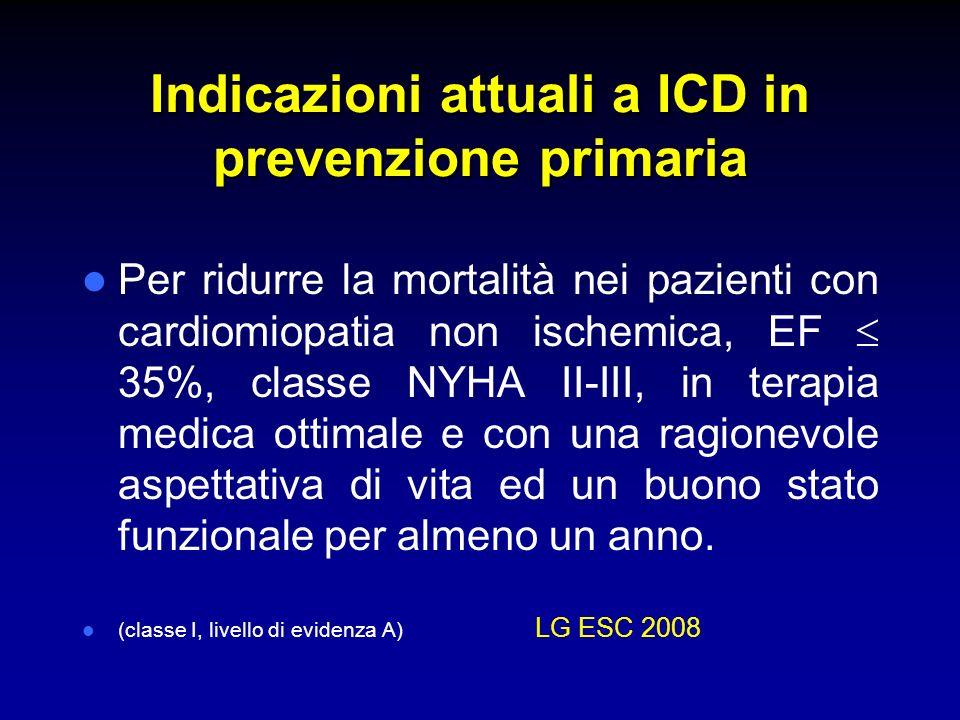 Indicazioni attuali a ICD in prevenzione primaria Per ridurre la mortalità nei pazienti con cardiomiopatia non ischemica, EF 35%, classe NYHA II-III,