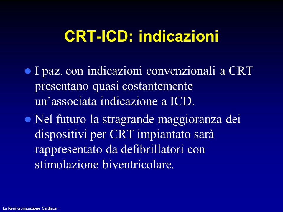 CRT-ICD: indicazioni I paz. con indicazioni convenzionali a CRT presentano quasi costantemente unassociata indicazione a ICD. Nel futuro la stragrande