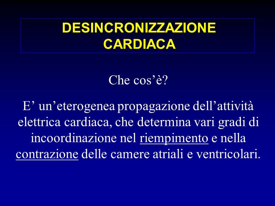 DESINCRONIZZAZIONE CARDIACA Che cosè? E uneterogenea propagazione dellattività elettrica cardiaca, che determina vari gradi di incoordinazione nel rie