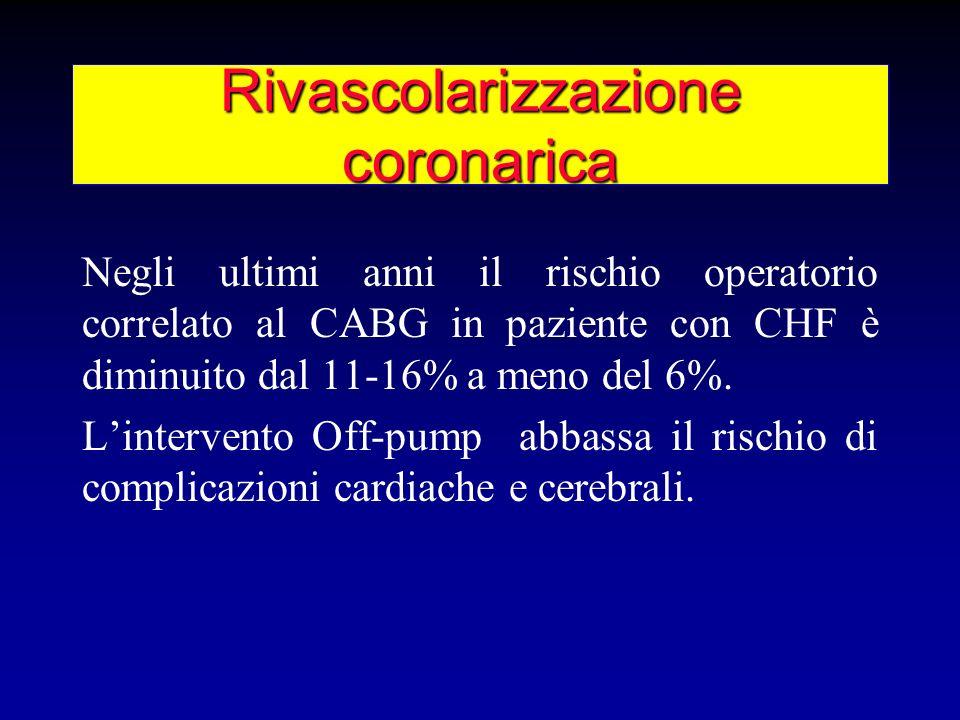 Rivascolarizzazione coronarica Negli ultimi anni il rischio operatorio correlato al CABG in paziente con CHF è diminuito dal 11-16% a meno del 6%. Lin