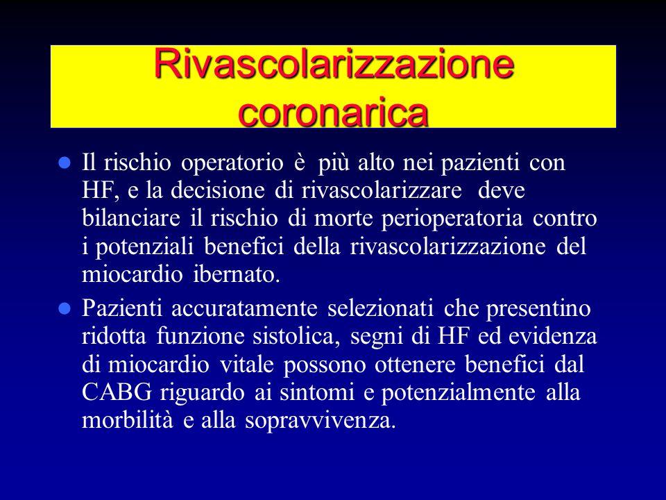 Rivascolarizzazione coronarica Il rischio operatorio è più alto nei pazienti con HF, e la decisione di rivascolarizzare deve bilanciare il rischio di