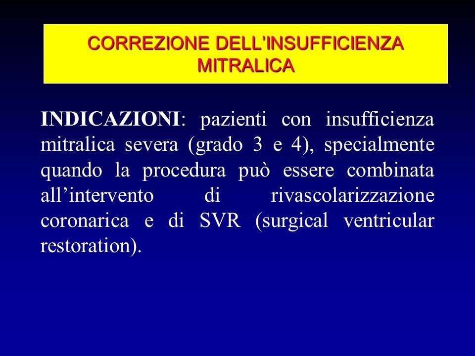 INDICAZIONI: pazienti con insufficienza mitralica severa (grado 3 e 4), specialmente quando la procedura può essere combinata allintervento di rivasco