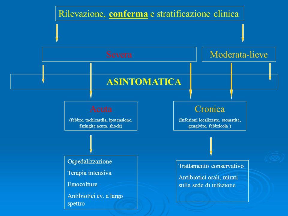 Rilevazione, conferma e stratificazione clinica SeveraModerata-lieve ASINTOMATICA Acuta (febbre, tachicardia, ipotensione, faringite acuta, shock) Cro
