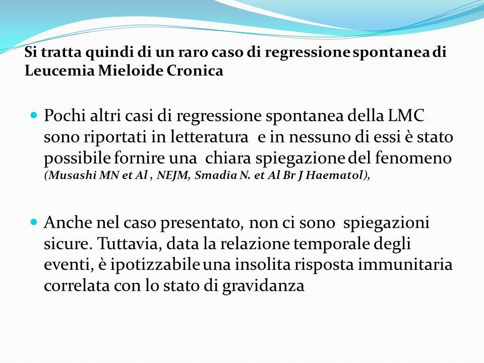 Si tratta quindi di un raro caso di regressione spontanea di Leucemia Mieloide Cronica Pochi altri casi di regressione spontanea della LMC sono riport
