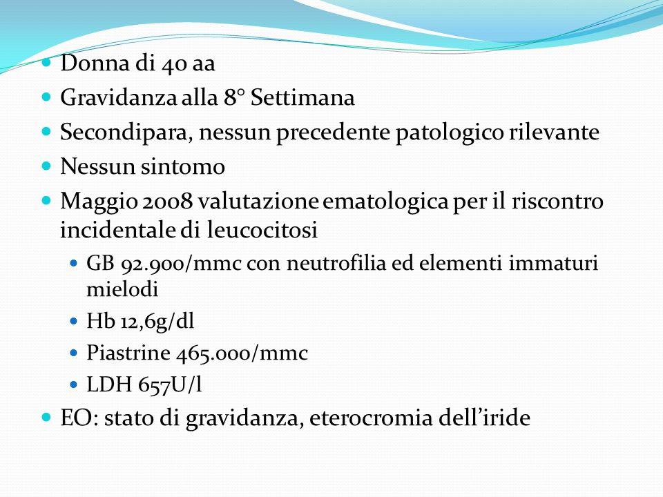 Donna di 40 aa Gravidanza alla 8° Settimana Secondipara, nessun precedente patologico rilevante Nessun sintomo Maggio 2008 valutazione ematologica per