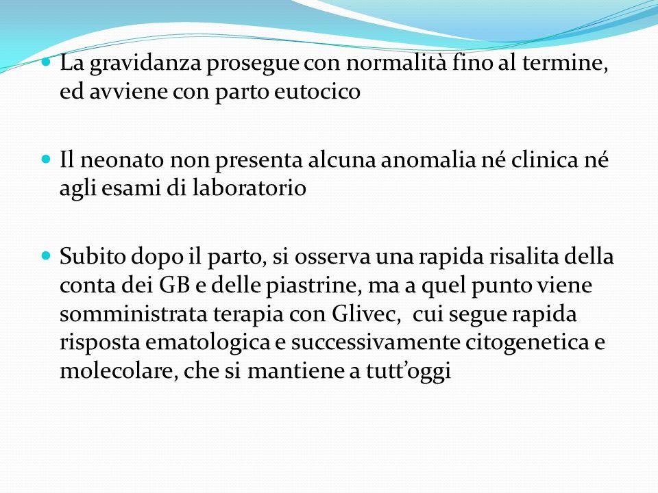 La gravidanza prosegue con normalità fino al termine, ed avviene con parto eutocico Il neonato non presenta alcuna anomalia né clinica né agli esami d