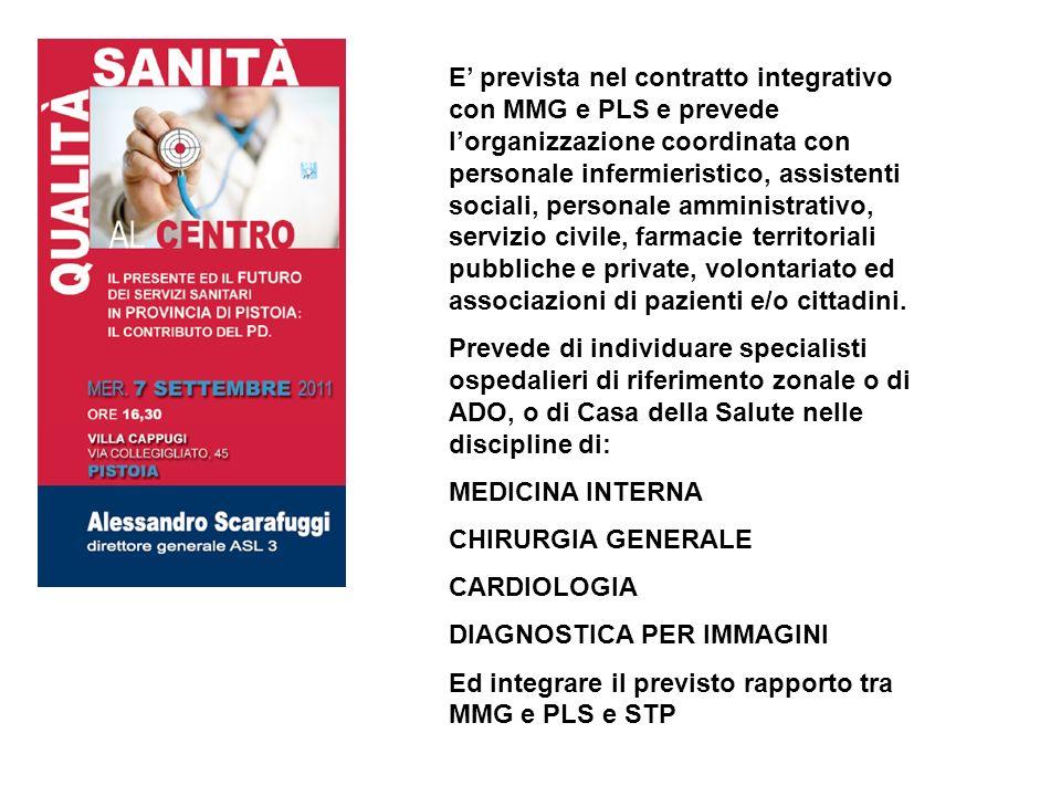 E prevista nel contratto integrativo con MMG e PLS e prevede lorganizzazione coordinata con personale infermieristico, assistenti sociali, personale a