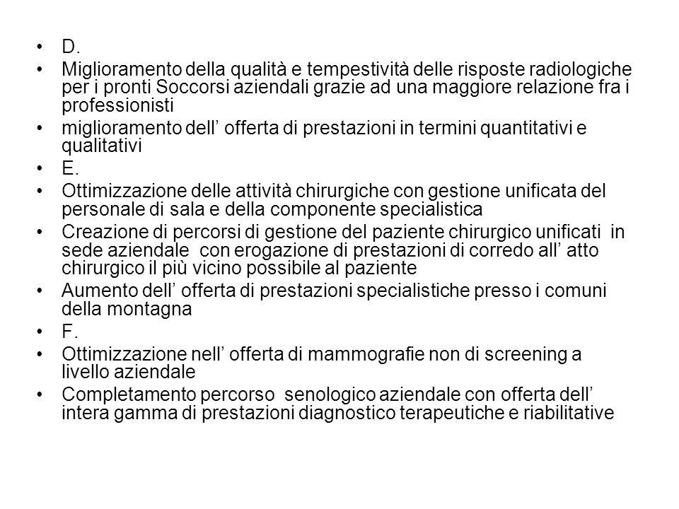 D. Miglioramento della qualità e tempestività delle risposte radiologiche per i pronti Soccorsi aziendali grazie ad una maggiore relazione fra i profe