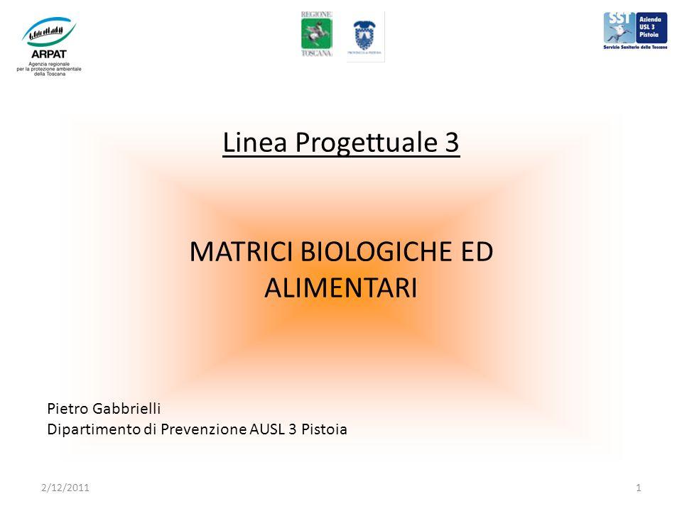 Linea Progettuale 3 MATRICI BIOLOGICHE ED ALIMENTARI Pietro Gabbrielli Dipartimento di Prevenzione AUSL 3 Pistoia 2/12/20111