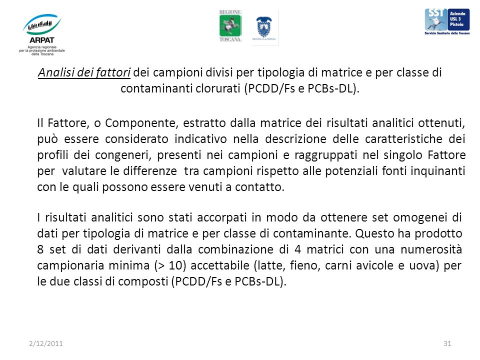 Analisi dei fattori dei campioni divisi per tipologia di matrice e per classe di contaminanti clorurati (PCDD/Fs e PCBs-DL).