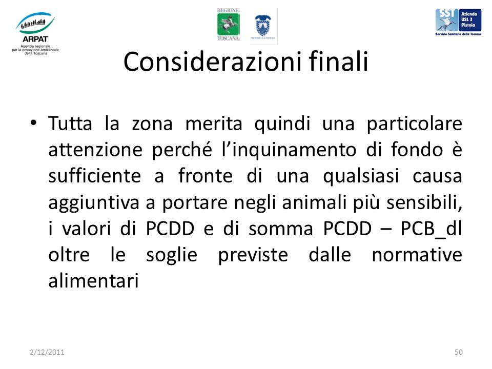 Considerazioni finali Tutta la zona merita quindi una particolare attenzione perché linquinamento di fondo è sufficiente a fronte di una qualsiasi causa aggiuntiva a portare negli animali più sensibili, i valori di PCDD e di somma PCDD – PCB_dl oltre le soglie previste dalle normative alimentari 2/12/201150