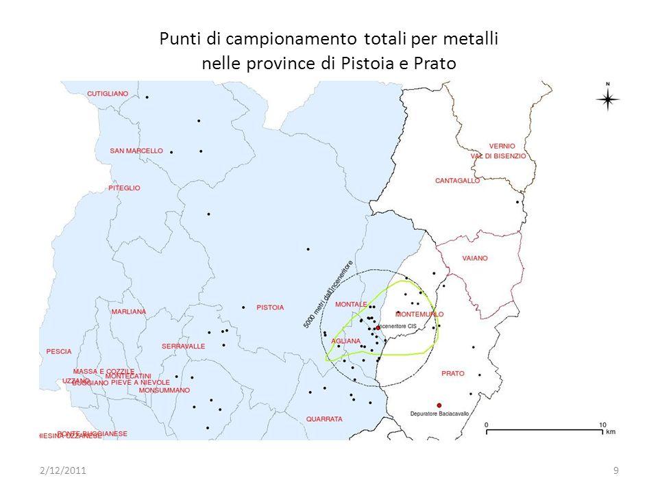 Punti di campionamento totali per metalli nelle province di Pistoia e Prato 2/12/20119
