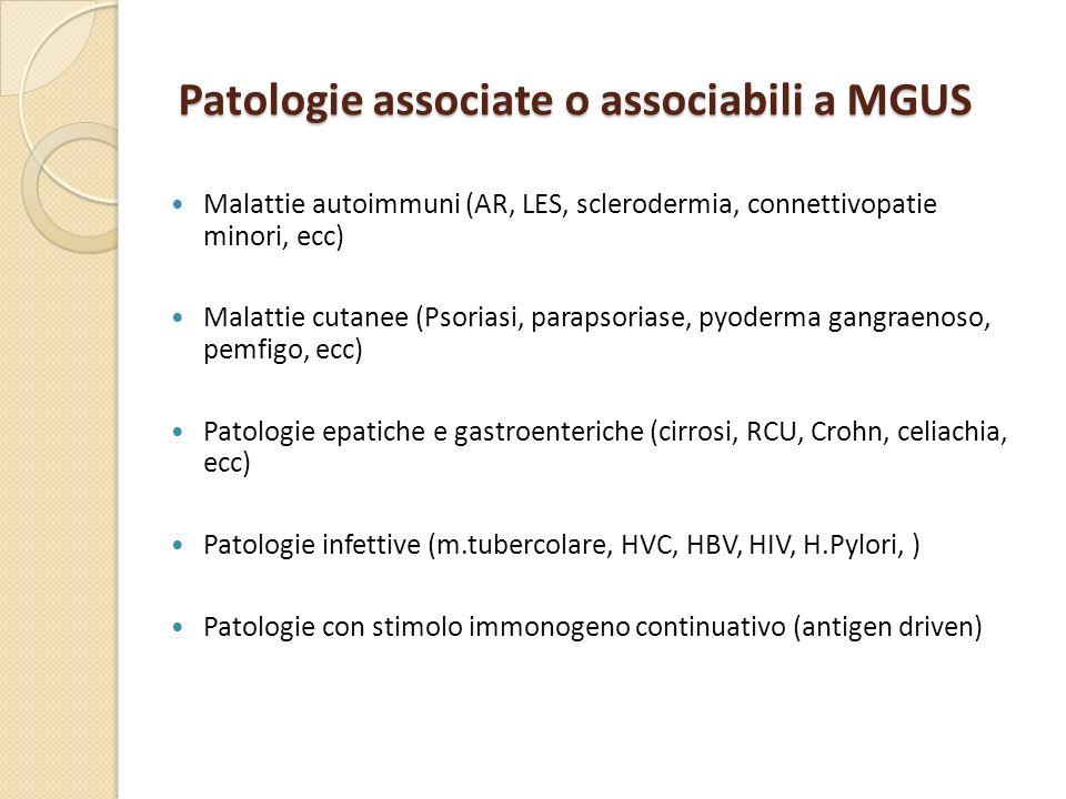 Patologie associate o associabili a MGUS Malattie autoimmuni (AR, LES, sclerodermia, connettivopatie minori, ecc) Malattie cutanee (Psoriasi, parapsor