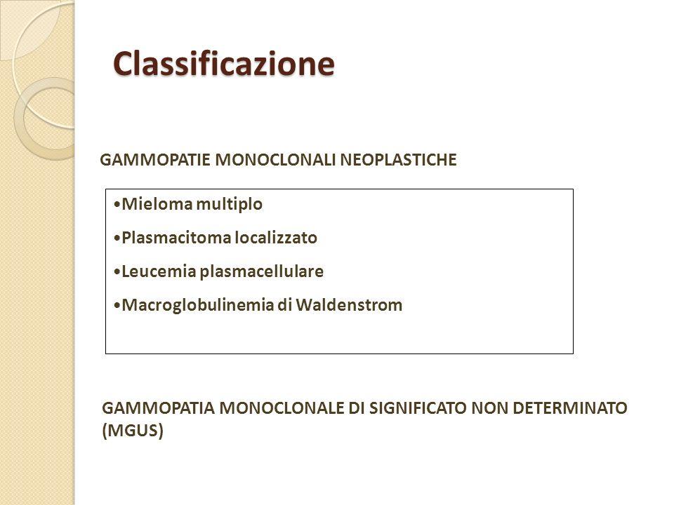 Classificazione GAMMOPATIE MONOCLONALI NEOPLASTICHE GAMMOPATIA MONOCLONALE DI SIGNIFICATO NON DETERMINATO (MGUS) Mieloma multiplo Plasmacitoma localiz