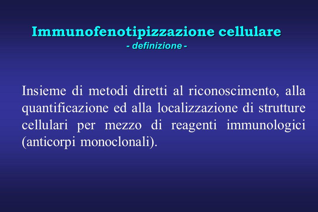 Immunofenotipizzazione cellulare - definizione - Insieme di metodi diretti al riconoscimento, alla quantificazione ed alla localizzazione di strutture