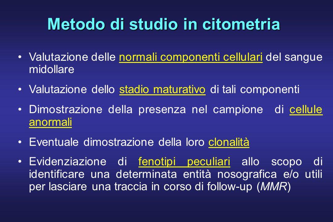 Metodo di studio in citometria Valutazione delle normali componenti cellulari del sangue midollare Valutazione dello stadio maturativo di tali compone