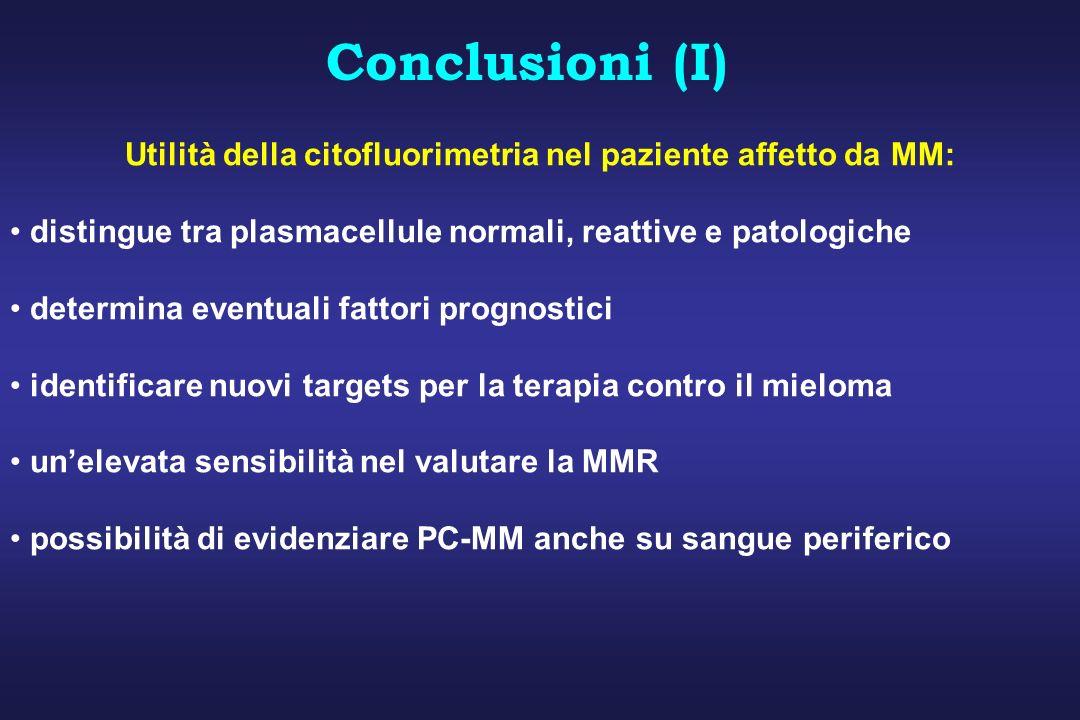 Utilità della citofluorimetria nel paziente affetto da MM: distingue tra plasmacellule normali, reattive e patologiche determina eventuali fattori pro
