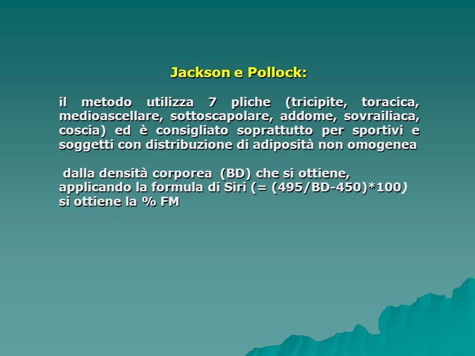 Jackson e Pollock: il metodo utilizza 7 pliche (tricipite, toracica, medioascellare, sottoscapolare, addome, sovrailiaca, coscia) ed è consigliato soprattutto per sportivi e soggetti con distribuzione di adiposità non omogenea dalla densità corporea (BD) che si ottiene, applicando la formula di Siri (= (495/BD-450)*100 si ottienela % FM dalla densità corporea (BD) che si ottiene, applicando la formula di Siri (= (495/BD-450)*100) si ottiene la % FM