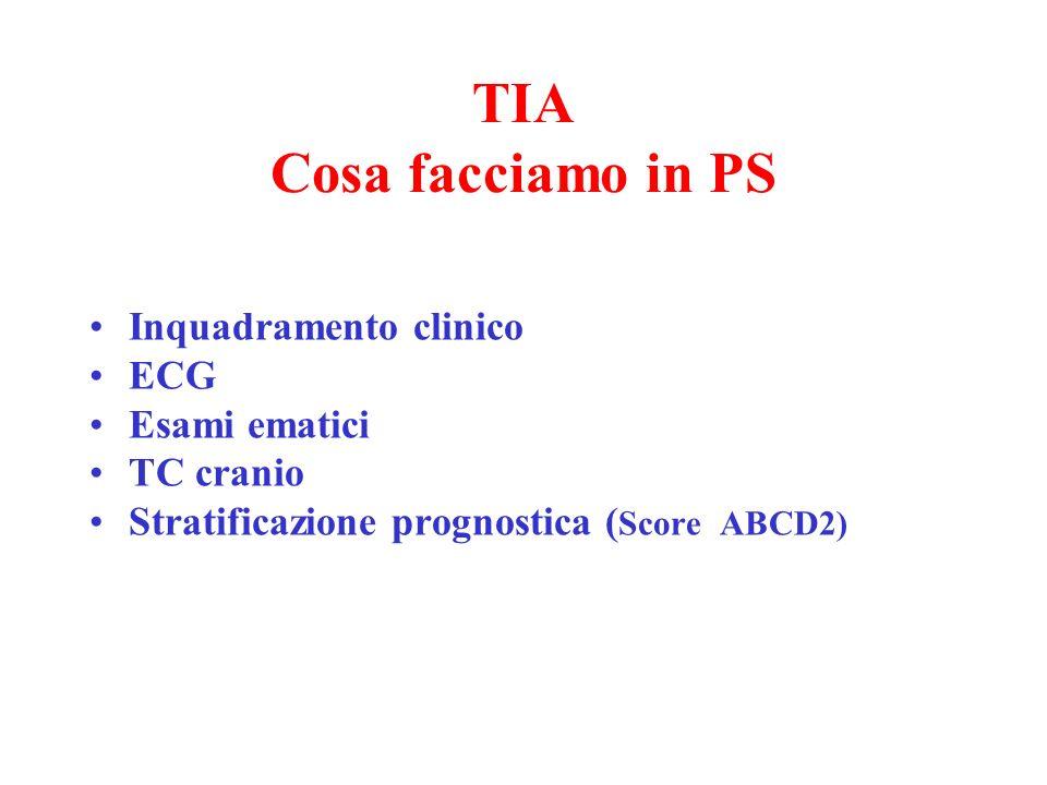 TIA Cosa facciamo in PS Inquadramento clinico ECG Esami ematici TC cranio Stratificazione prognostica ( Score ABCD2)