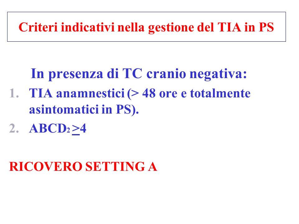Criteri indicativi nella gestione del TIA in PS In presenza di TC cranio negativa: 1.TIA anamnestici (> 48 ore e totalmente asintomatici in PS). 2.ABC