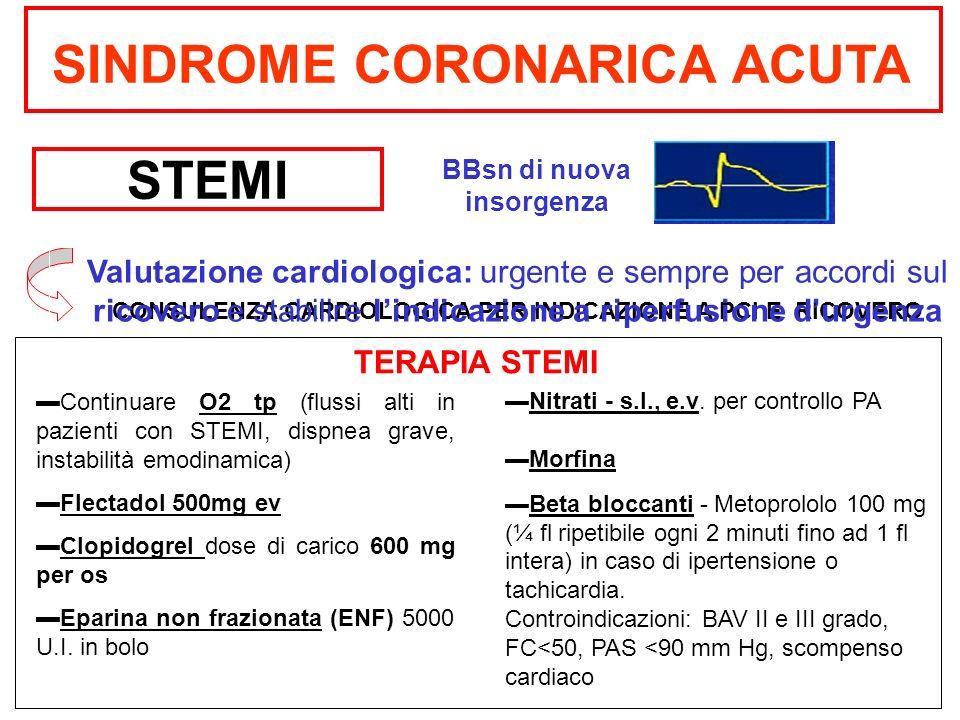 SINDROME CORONARICA ACUTA STEMI CONSULENZA CARDIOLOGICA PER INDICAZIONE A PCI E RICOVERO Valutazione cardiologica: urgente e sempre per accordi sul ri