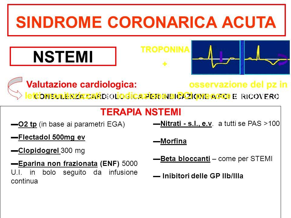 SINDROME CORONARICA ACUTA NSTEMI CONSULENZA CARDIOLOGICA PER INDICAZIONE A PCI E RICOVERO Valutazione cardiologica: per definire osservazione del pz i