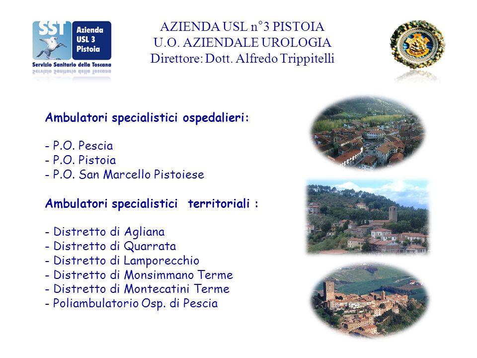 Ambulatori specialistici ospedalieri: - P.O. Pescia - P.O. Pistoia - P.O. San Marcello Pistoiese Ambulatori specialistici territoriali : - Distretto d