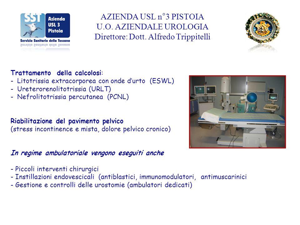 Trattamento della calcolosi: - Litotrissia extracorporea con onde durto (ESWL) - Ureterorenolitotrissia (URLT) - Nefrolitotrissia percutanea (PCNL) Ri