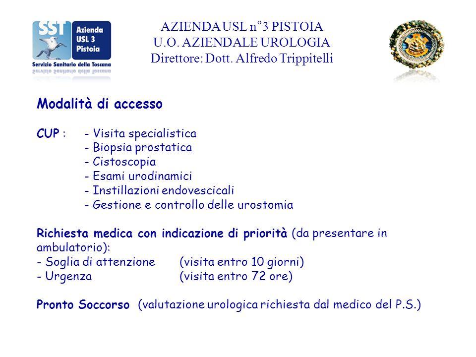 AZIENDA USL n°3 PISTOIA U.O.AZIENDALE UROLOGIA Direttore: Dott.