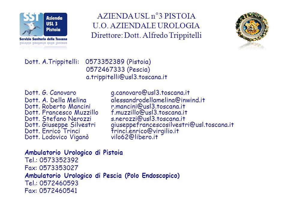 AZIENDA USL n°3 PISTOIA U.O. AZIENDALE UROLOGIA Direttore: Dott. Alfredo Trippitelli Dott. A.Trippitelli: 0573352389 (Pistoia) 0572467333 (Pescia) a.t