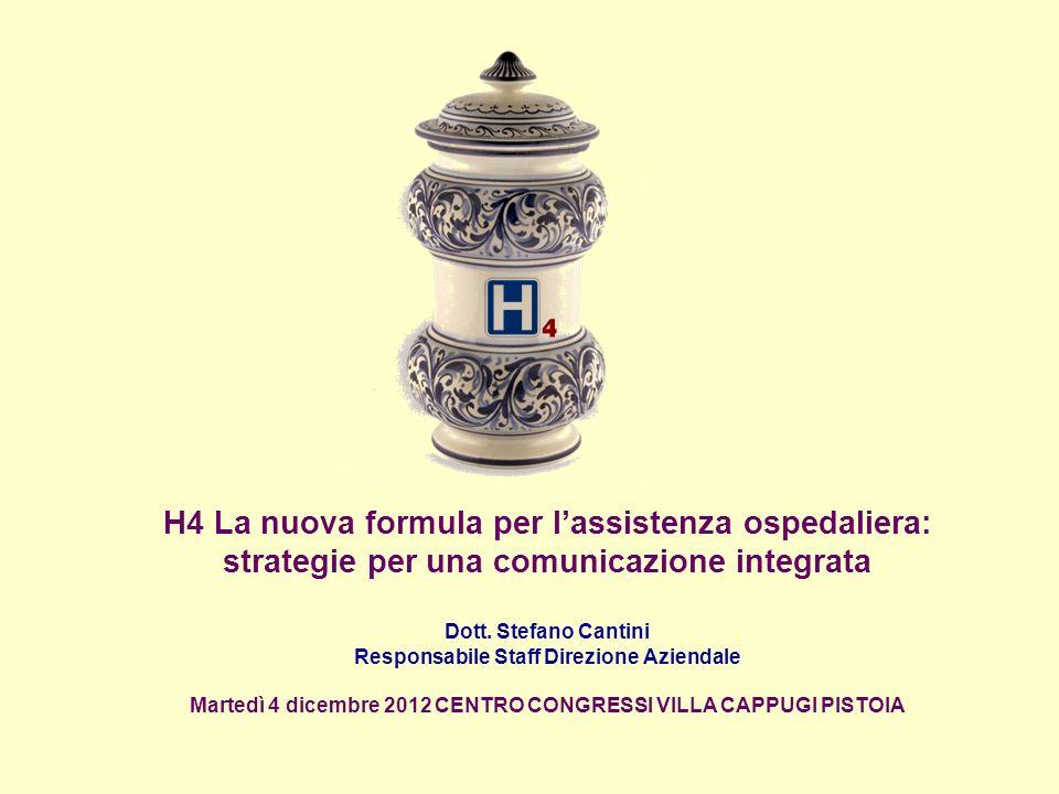 H4 La nuova formula per lassistenza ospedaliera: strategie per una comunicazione integrata Dott. Stefano Cantini Responsabile Staff Direzione Aziendal
