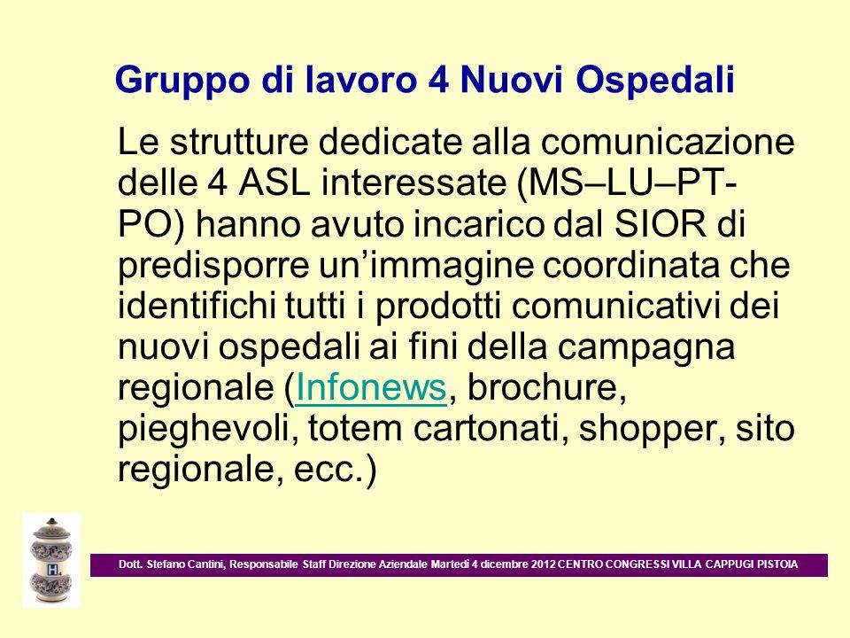 Gruppo di lavoro 4 Nuovi Ospedali Le strutture dedicate alla comunicazione delle 4 ASL interessate (MS–LU–PT- PO) hanno avuto incarico dal SIOR di pre