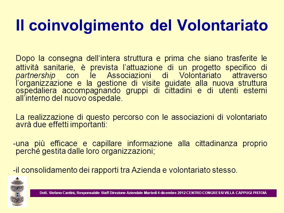 Il coinvolgimento del Volontariato Dopo la consegna dellintera struttura e prima che siano trasferite le attività sanitarie, è prevista lattuazione di