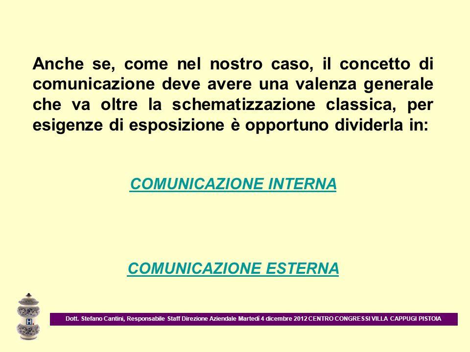 Anche se, come nel nostro caso, il concetto di comunicazione deve avere una valenza generale che va oltre la schematizzazione classica, per esigenze d