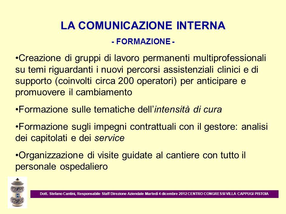 LA COMUNICAZIONE INTERNA - FORMAZIONE - Creazione di gruppi di lavoro permanenti multiprofessionali su temi riguardanti i nuovi percorsi assistenziali