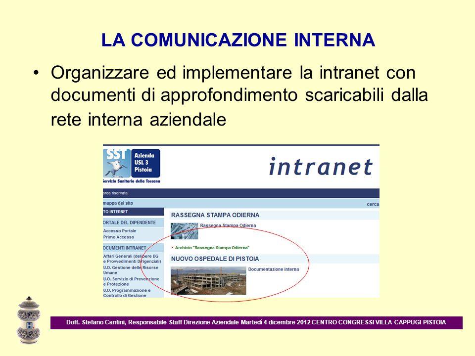 LA COMUNICAZIONE INTERNA Organizzare ed implementare la intranet con documenti di approfondimento scaricabili dalla rete interna aziendale Dott. Stefa